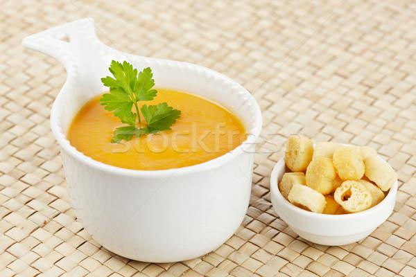 Krém sárgarépa leves kenyér petrezselyem fókusz Stock fotó © broker