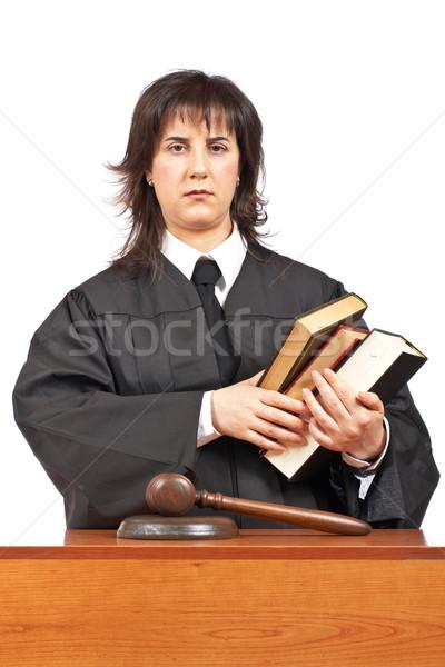 Mérges női bíró tart könyvek sekély Stock fotó © broker