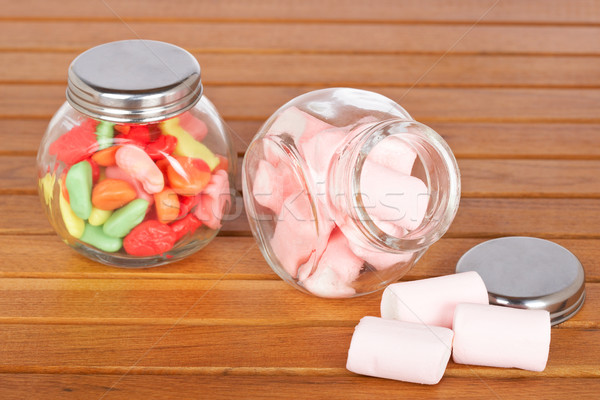 Colorful candies  and pink marshmallows Stock photo © broker