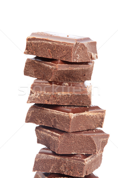 Bloques chocolate aislado blanco superficial alimentos Foto stock © broker