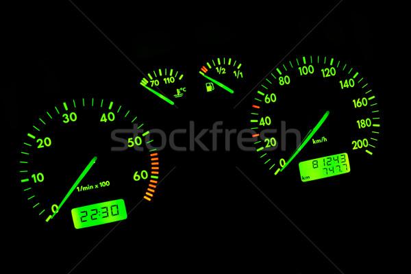 Autó műszerfal zöld neon fekete technológia Stock fotó © broker