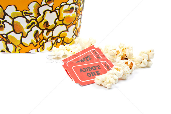 Two tickets and popcorn bucket Stock photo © broker
