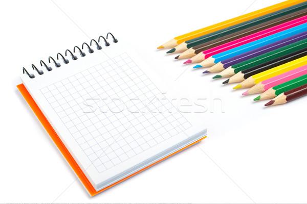 Notebooka ołówki cień biały płytki Zdjęcia stock © broker