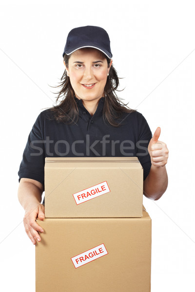 Fragile courrier femme isolé blanche fille Photo stock © broker