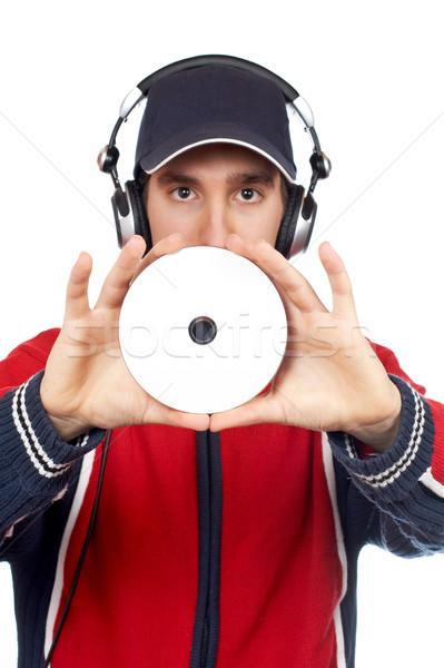 Disc jockey compact disc witte focus hand Stockfoto © broker