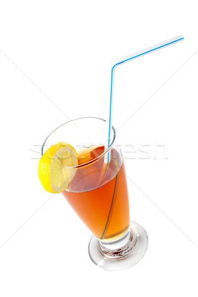 Tea with a straw and the slice of lemon Stock photo © broker