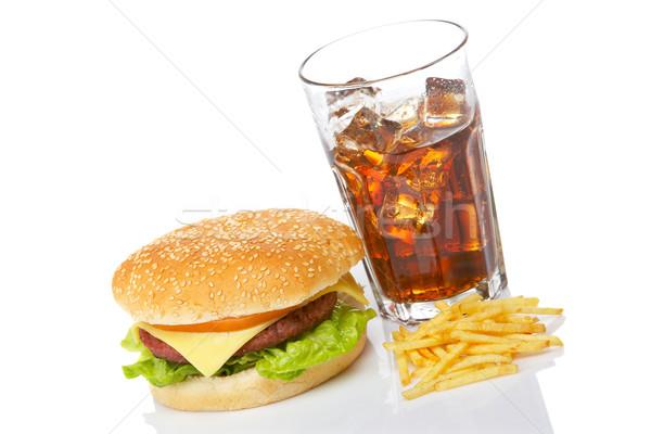 Cheeseburger soda drinken witte ondiep Stockfoto © broker