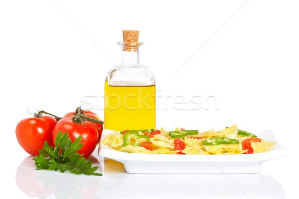 Gekookt plaat pasta vers tomaten eten Stockfoto © broker
