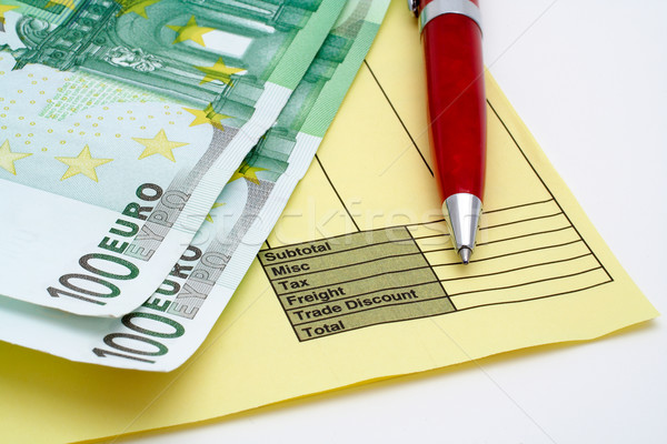 Blank invoice with pen and money (euros) Stock photo © broker