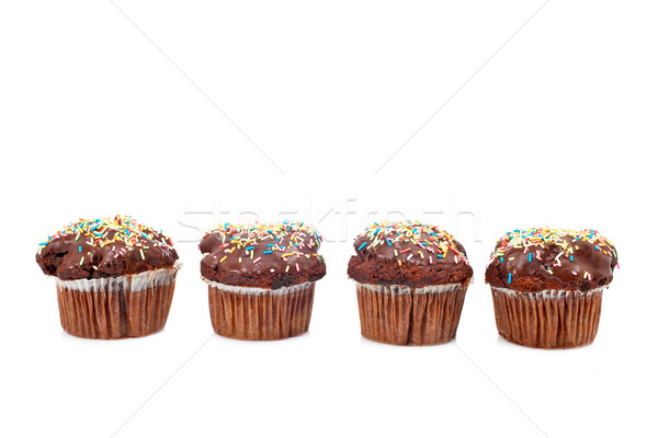 Four tasty muffin with chocolate Stock photo © broker