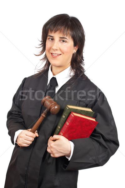 Női bíró boldog tart kalapács könyvek Stock fotó © broker