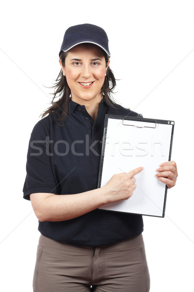 Smiling courier woman Stock photo © broker
