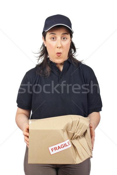 Stock foto: Beschädigt · Paket · überrascht · Kurier · Frau · halten