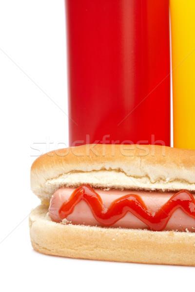 Stockfoto: Hot · dog · ketchup · mosterd · flessen · geïsoleerd · witte