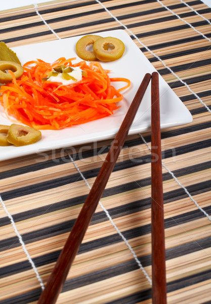 Salad of carrot on a porcelain plate with sticks Stock photo © broker