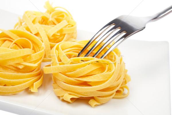 Foto d'archivio: Pasta · forcella · piatto · bianco · alimentare · uovo