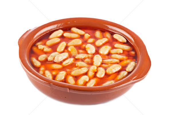 Feijões molho de tomate branco raso comida Foto stock © broker