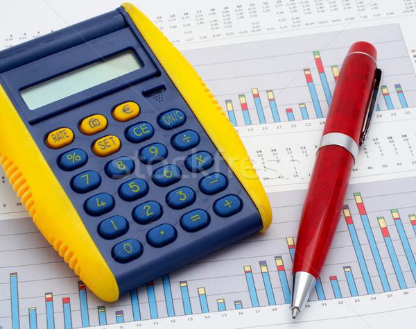 Számológép toll kereset diagram üzlet számítógép Stock fotó © broker