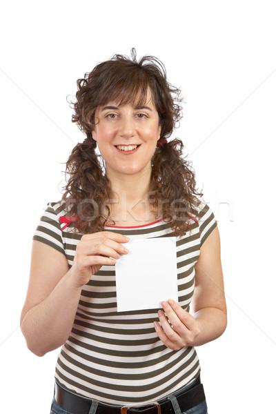 Kadın bir boş kart gündelik beyaz Stok fotoğraf © broker
