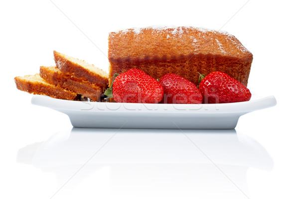 Slices of cake with three strawberries Stock photo © broker