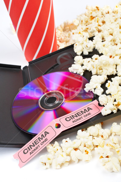DVD, popcorn, soda and cinema tickets Stock photo © broker