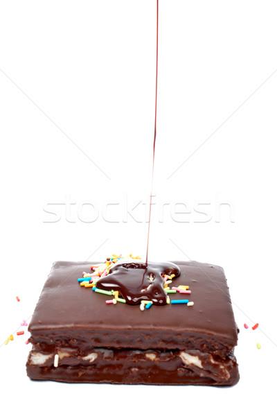 Szirup csokoládé csokoládé szirup torta fehér konyha Stock fotó © broker