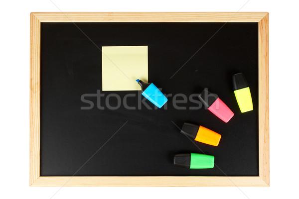 Zdjęcia stock: Tablica · pusty · czarny · żółty · Uwaga · odizolowany