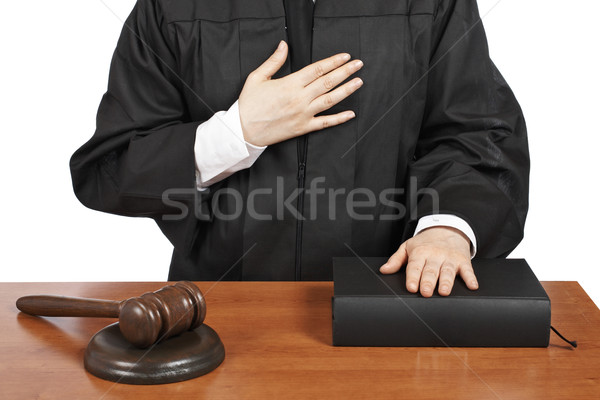 Female judge taking oath Stock photo © broker