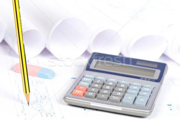 Stockfoto: Blauwdrukken · tekening · tools · bouw · plannen · calculator