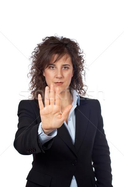 üzletasszony közmondás stop komoly fehér kéz Stock fotó © broker