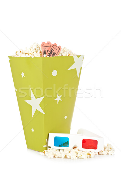 Stock photo: Popcorn bucket, two tickets and 3D glasses