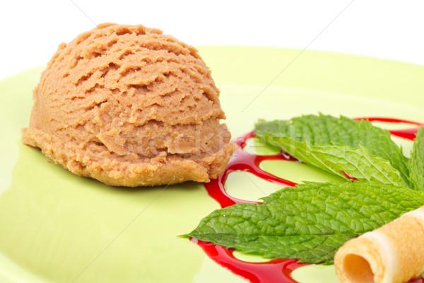 Сток-фото: шоколадом · мороженым · сироп · зеленый · пластина
