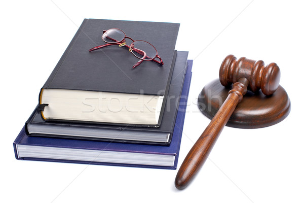 Wooden gavel, glasses and law books Stock photo © broker
