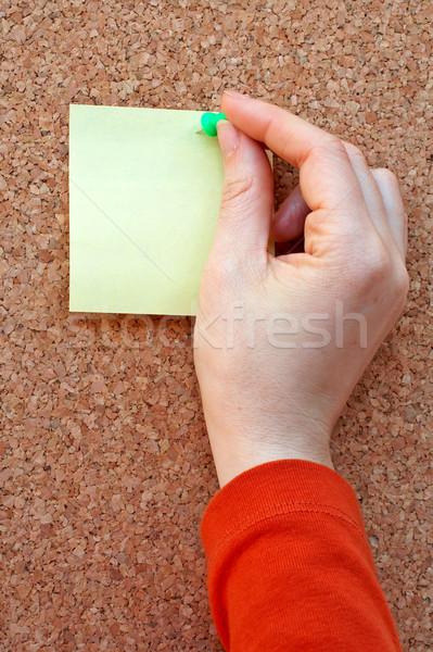 Nota placa de cortiça papel azul comunicação escuro Foto stock © broker
