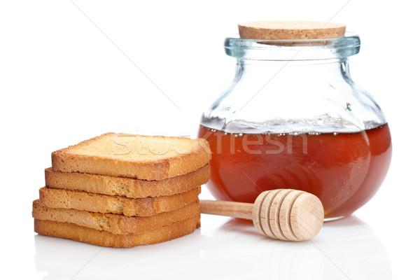 Honey jar and toasts Stock photo © broker