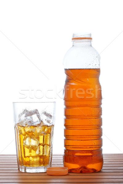 Cam şişe buzlu çay ahşap sığ sağlık Stok fotoğraf © broker