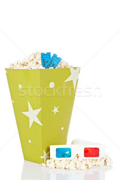 Popcorn bucket, two tickets and 3D glasses Stock photo © broker