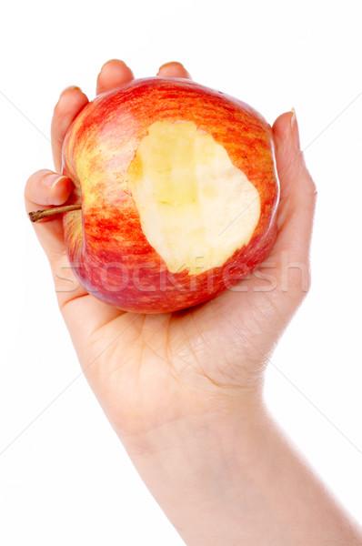 Piros alma egy falat tart fehér alma Stock fotó © broker