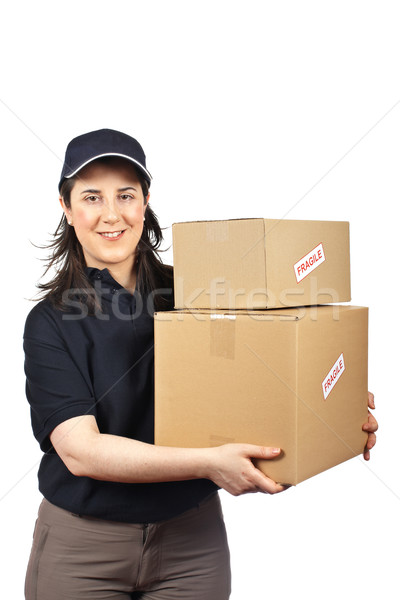 Fragile courrier femme isolé blanche travaux Photo stock © broker