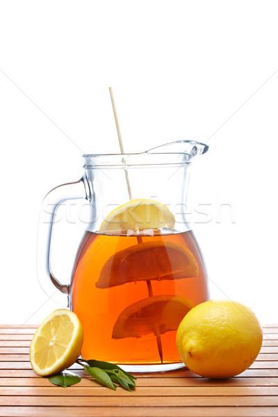 Ice tea with lemon pitcher Stock photo © broker
