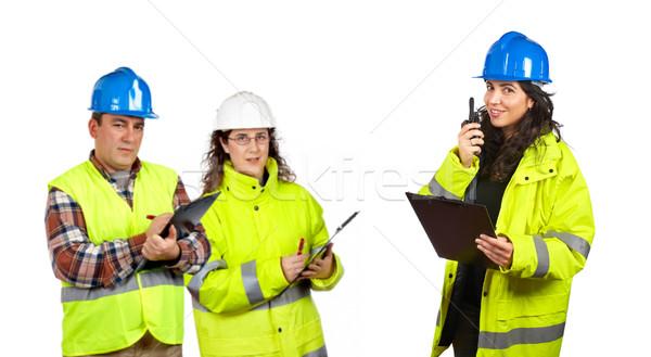 építkezés munkások beszél adóvevő három fehér Stock fotó © broker