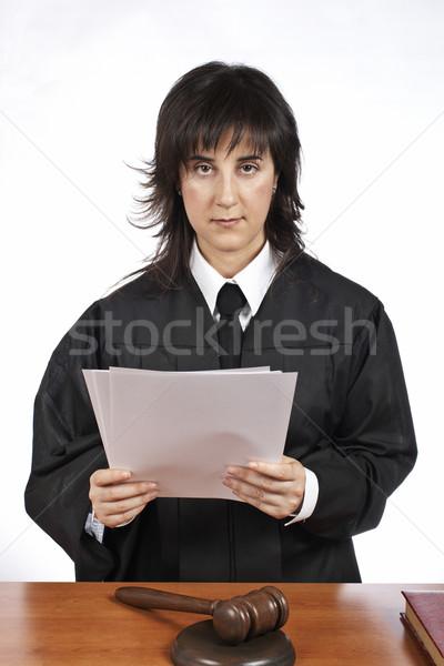 чтение вердикт женщины судья молоток Сток-фото © broker