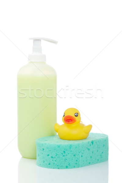 Rubber duck, soap and sponge Stock photo © broker