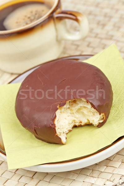 Delicious chocolate donut  with coffee Stock photo © broker