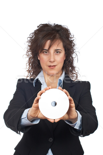 Business woman holding a dvd disc Stock photo © broker
