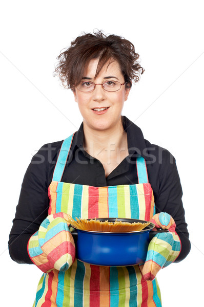 Gospodyni domowa fartuch niebieski pan spaghetti Zdjęcia stock © broker