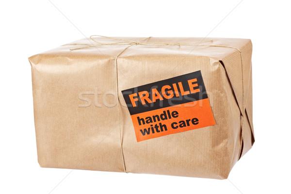 Frágil pacote pacote papel pardo áspero Foto stock © broker