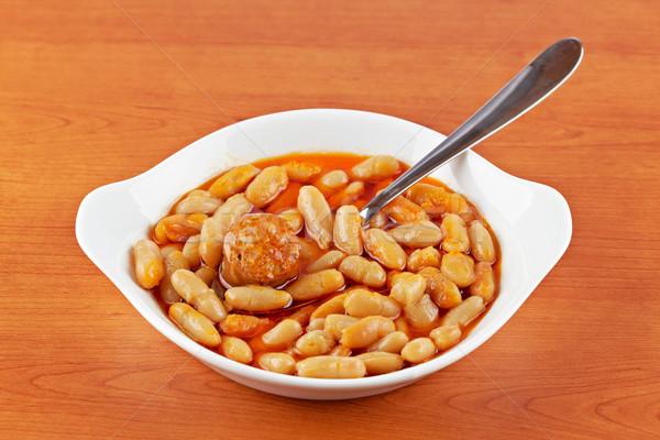 Feijões molho de tomate madeira raso comida Foto stock © broker