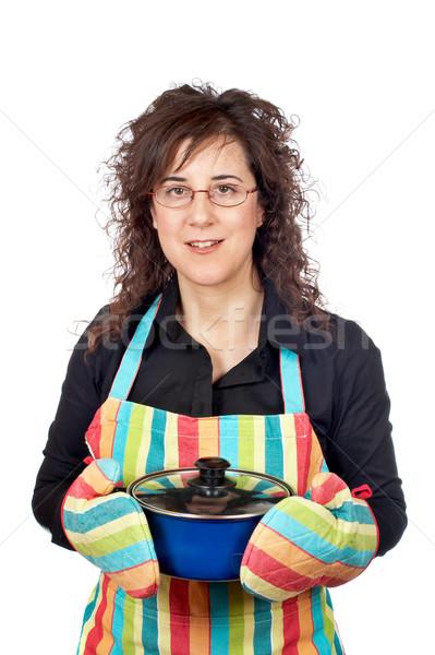 Ménagère tablier bleu pan femme Photo stock © broker