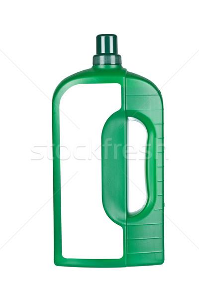 Lavanderia detergente tessuto bottiglia etichetta isolato Foto d'archivio © broker